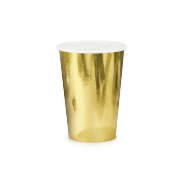 Partydeco Gouden Bekers Metallic - 6 stuks - feestartikelen en versiering goud
