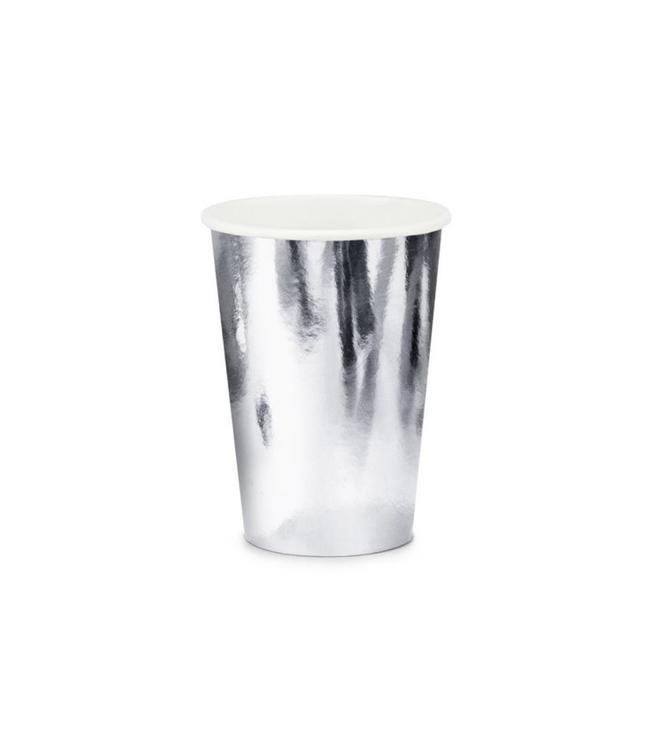 Partydeco Zilveren Bekers Metallic - 6 stuks - feestartikelen en versiering zilver