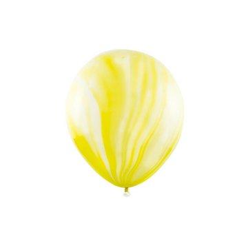 Partydeco Marble Ballonnen Geel - 6 stuks - 30 cm - Marmer Ballonnen