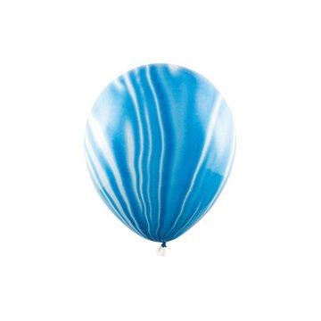 Partydeco Marble Ballonnen Blauw - 6 stuks - 30 cm - Marmer Ballonnen