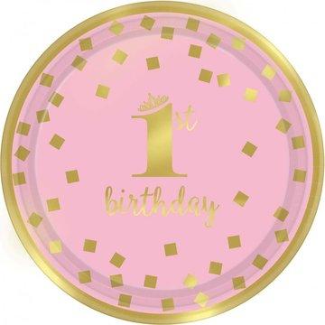 Amscan 1st Birthday Bordjes Roze & Goud - 8 stuks - 1 Jaar Feestartikelen