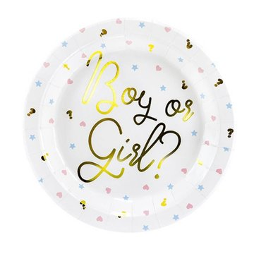 Partydeco Baby Gender Reveal Borden - 6 stuks - Boy or Girl feestartikelen