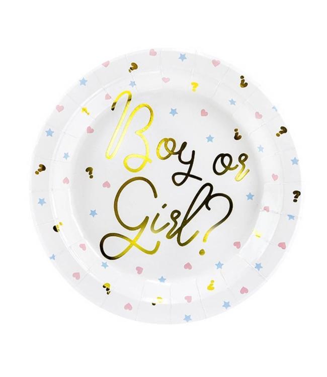 Partydeco Baby Gender Reveal Borden - 6 stuks - Boy or Girl feestartikelen
