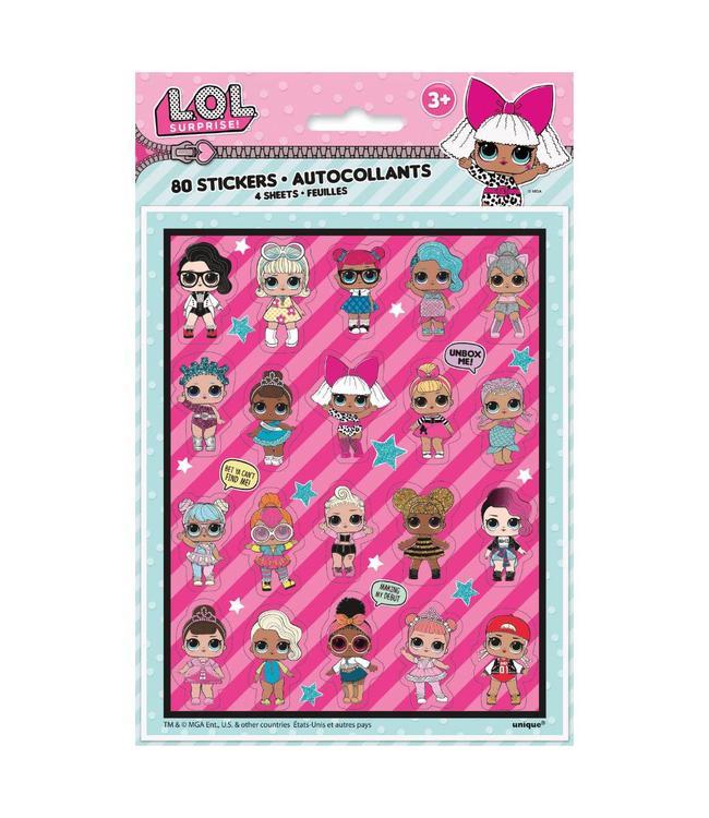 Unique L.O.L. Surprise Stickervellen - 4 stuks - LOL Surprise Party