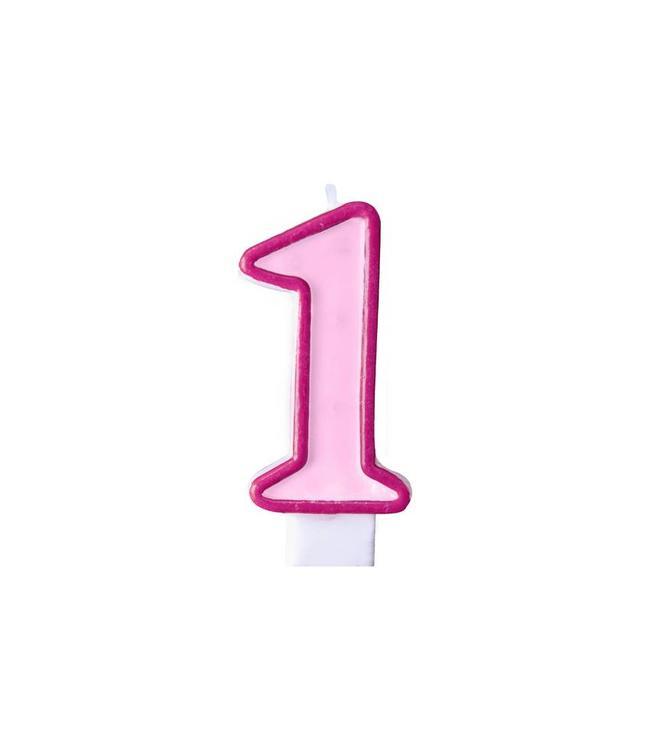Partydeco 1 jaar Taartkaarsje Roze - 6 cm