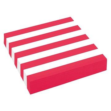 Amscan Servetten Strepen Rood & Wit - 20 stuks - 33 cm uitgevouwen