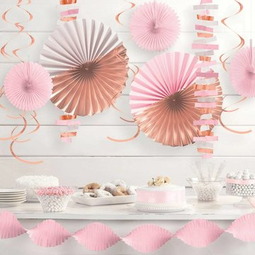 Amscan Decoratieset Rosegoud, Roze & Wit - set van 14 items