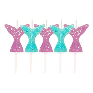 Creative Party Mermaid Tail Kaarsjes - 5 stuks - Zeemeermin Feestartikelen