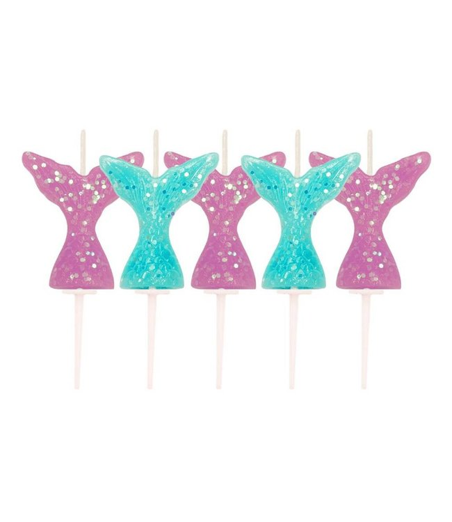 Creative Party Mermaid Tail Kaarsjes - 5 stuks - Zeemeermin Feestartikelen