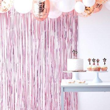 Ginger Ray Feestgordijn Roze - per stuk - Deurgordijn en Backdrop versiering