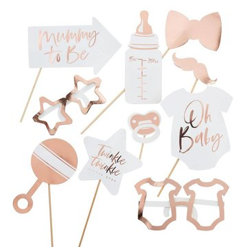 Ginger Ray Babyshower Photo Props Roségoud - 10 items - Baby shower Feestartikelen