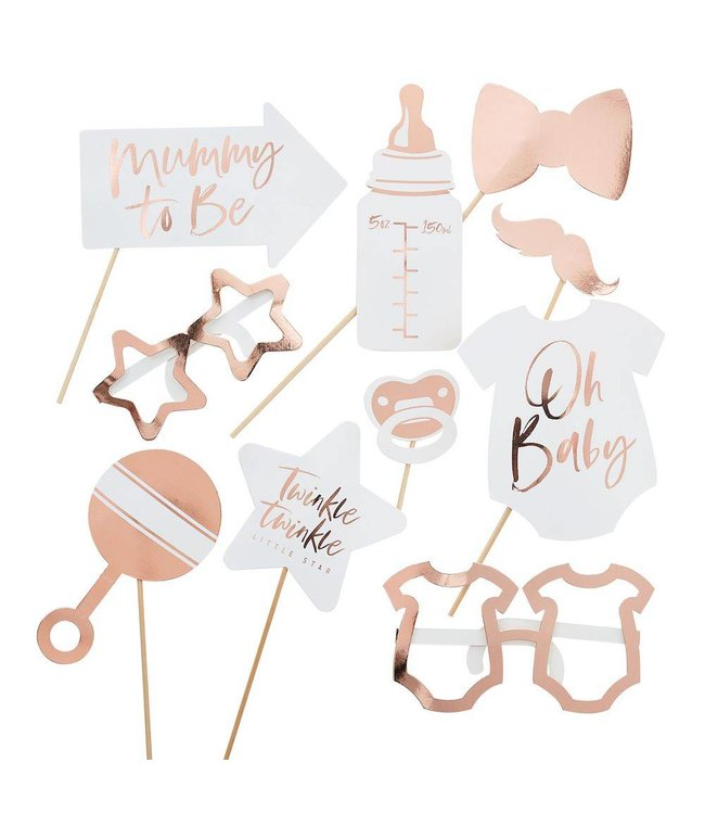 Ginger Ray Babyshower Photo Props Roségoud - 10 items - Baby shower Feestartikelen