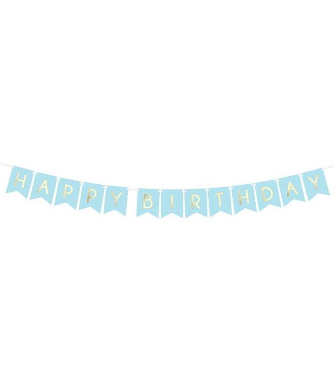Partydeco Happy Birthday Slinger Blauw & Goud - per stuk - 175 cm