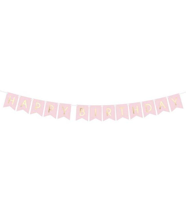 Partydeco Happy Birthday Slinger Roze & Goud - per stuk - 175 cm