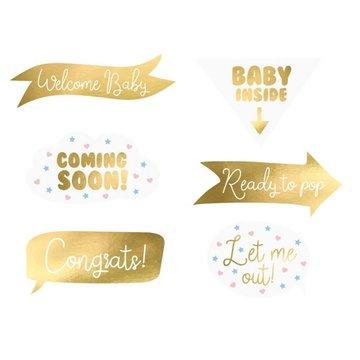 Partydeco Baby op Komst Props - set van 6 - Geboorte feestartikelen
