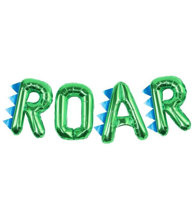 Ginger Ray Roarsome Letter Folieballonnen 'Roar'  - set van 4 - Dinosaurus Feestartikelen