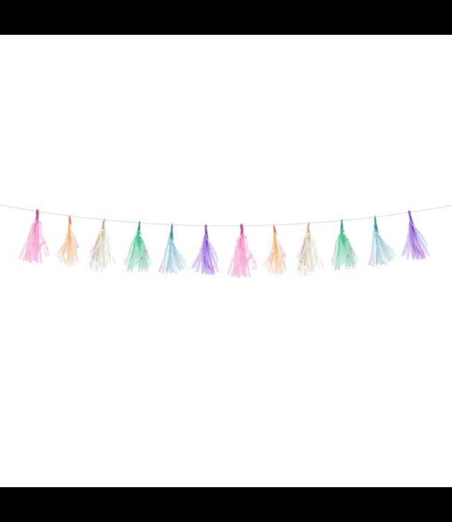 Partydeco Mini Tasselslinger Pastel  -  per stuk - Pastel feestversiering