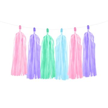 Partydeco Tasselslinger Pastel (DIY) - 12 tassels - Tassels voor een slinger of  hangdecoratie