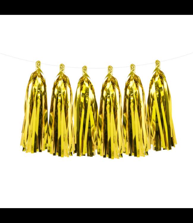 Partydeco Tasselslinger Goud (DIY) - 12 tassels - Tassels voor een slinger of  hangdecoratie