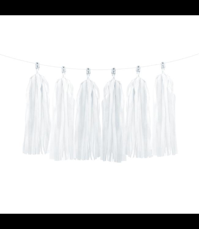 Partydeco Tasselslinger Wit (DIY) - 12 tassels - Tassels voor een slinger of  hangdecoratie