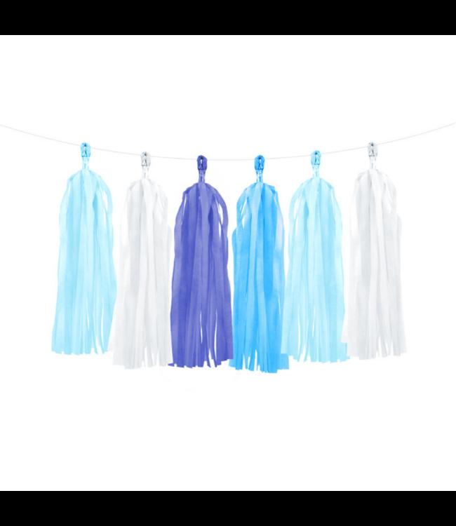 Partydeco Tasselslinger Blauw en  Wit (DIY) - 12 tassels - Tassels voor een slinger of  hangdecoratie