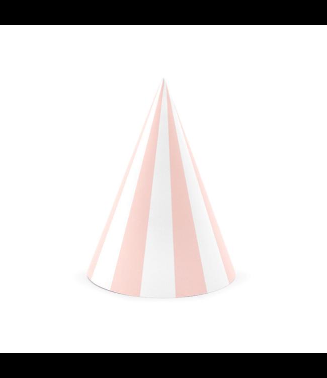 Partydeco Feesthoedjes Strepen Roze en Wit - 6 stuks - Hoedjes