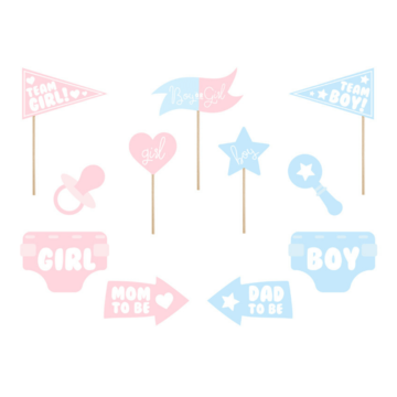 Partydeco Gender Reveal Photo Props - set van 11 - Geboorte feestartikelen
