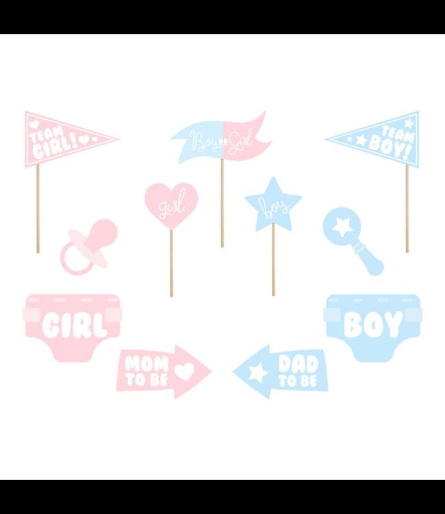 Partydeco Gender Reveal Photo Props - set van 11 - Geboorte feestartikelen