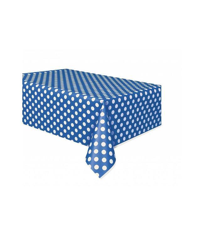 Unique Polka Dots Tafelkleed Blauw met Witte stippen - 1,37 x 2,74 meter
