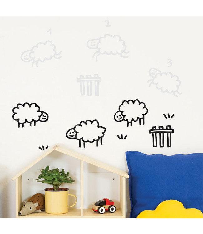 Chispum Muursticker Schaapjes Tellen - per stuk - Wall stickers voor kinderkamers