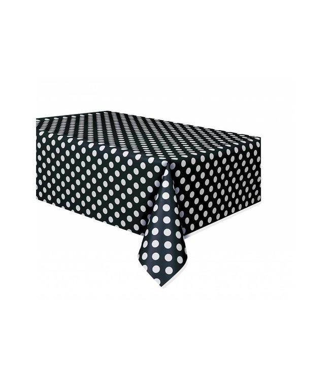 Unique Polka Dots Tafelkleed Zwart met Witte stippen - 1,37 x 2,74 meter