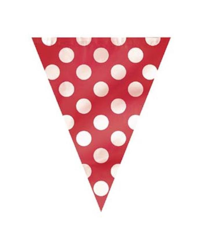 Unique Polka Dots Vlaggenlijn Rood met Witte stippen - 3,6 meter