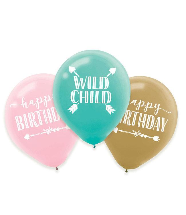 Amscan Boho Birthday Ballonnen 'Wild Child' - 6 stuks - Boho Chic