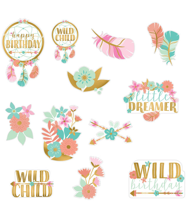 Amscan Boho Birthday Cutouts - set van 12 - Boho Chic