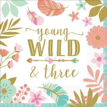 Amscan Boho Birthday Servetten 'Young Wild & Three' - 16 stuks - Boho Chic 3e verjaardag