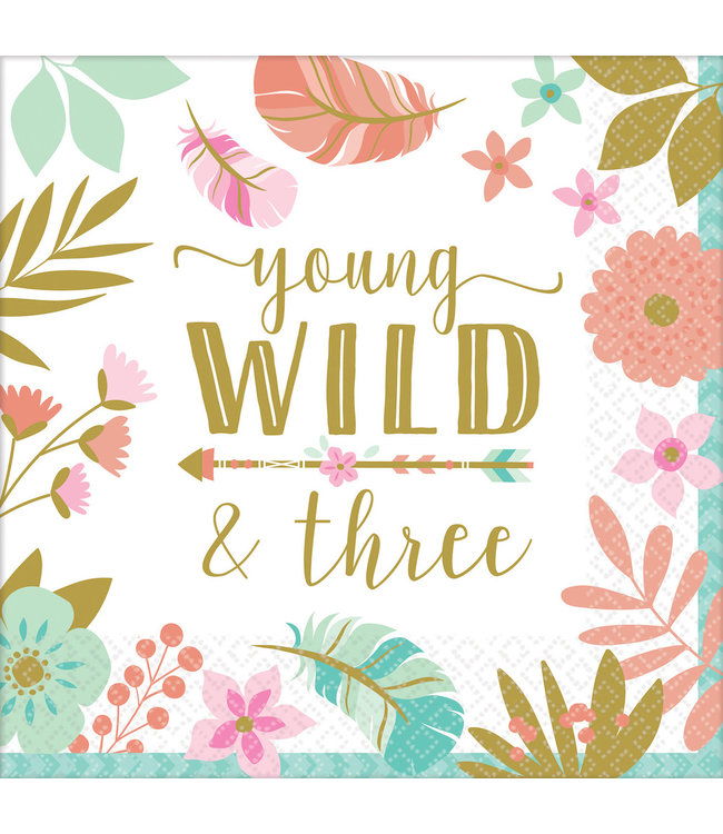 Amscan Boho Birthday Servetten 'Young Wild & Three' - 16 stuks - Boho Chic 3e verjaardag