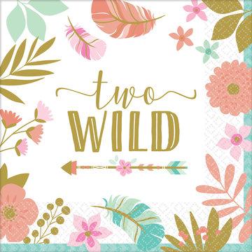 Amscan Boho Birthday Servetten 'Two Wild' - 16 stuks - Boho Chic 2e verjaardag