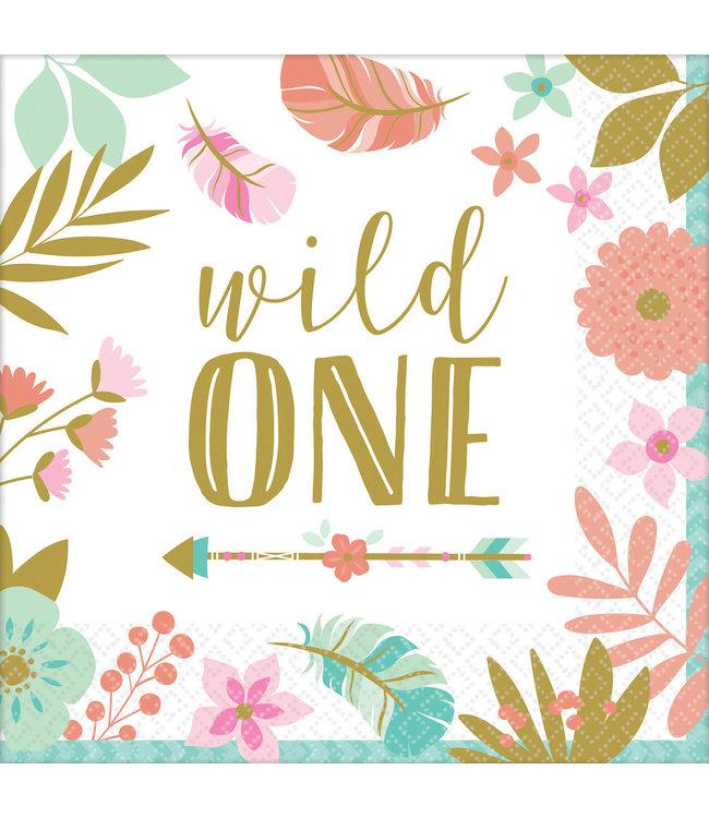 Amscan Boho Birthday Servetten 'Wild One' - 16 stuks - Boho Chic 1e verjaardag