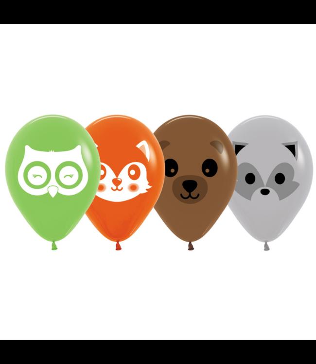 Sempertex Woodland Ballonnen - 25 stuks - Bosdieren (uil, vos, beer en wasbeer)