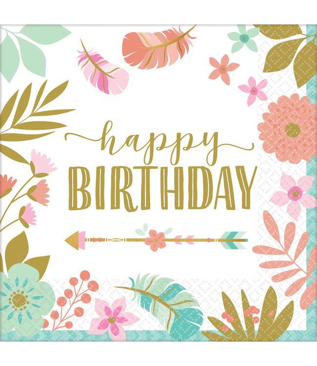 Amscan Boho Birthday Servetten 'Happy Birthday' - 16 stuks - Boho Chic verjaardag
