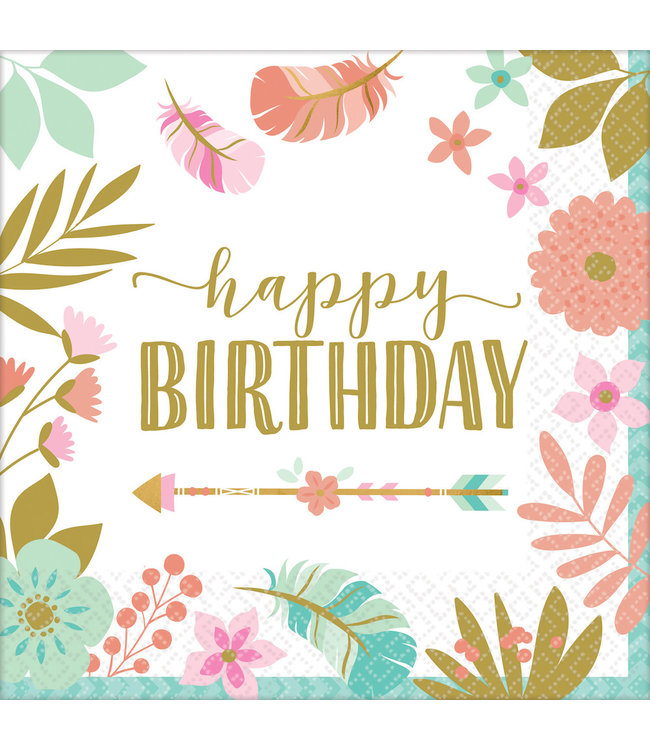 Amscan Boho Birthday Servetten 'Happy Birthday' - 16 stuks - Boho Chic 1e verjaardag