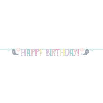 Amscan Narwal Slinger 'Happy Birthday' - per stuk - Narwal Feestje