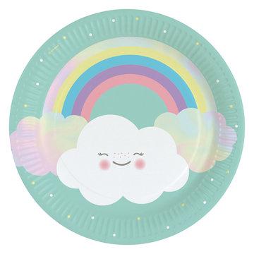 Amscan Rainbow & Cloud Borden - 8 stuks - Regenboog en Wolk Feestje