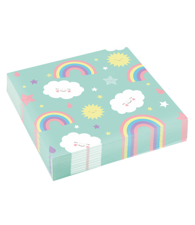 Amscan Rainbow & Cloud Servetten - 20 stuks - Regenboog en Wolk Feestje