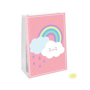 Amscan Rainbow & Cloud Uitdeelzakjes - 4 stuks - Regenboog en Wolk Feestje
