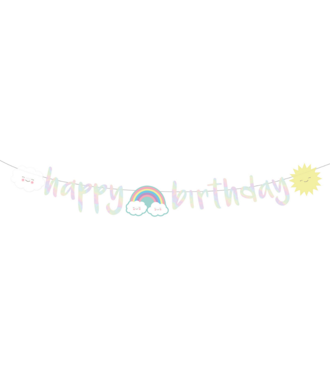 Amscan Rainbow & Cloud Slinger 'Happy Birthday' - per stuk - Regenboog en Wolk Feestje