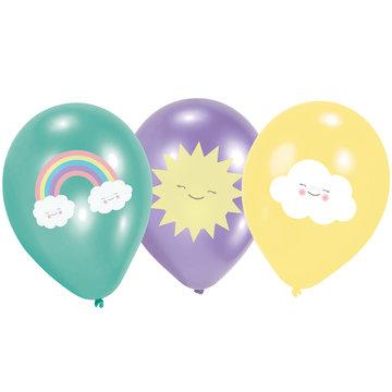 Amscan Rainbow & Cloud Ballonnen - 6 stuks - Regenboog en Wolk Feestje