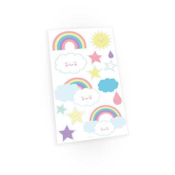 Amscan Rainbow & Cloud Plaktatoeages -14 stuks - Regenboog en Wolk Tattoos