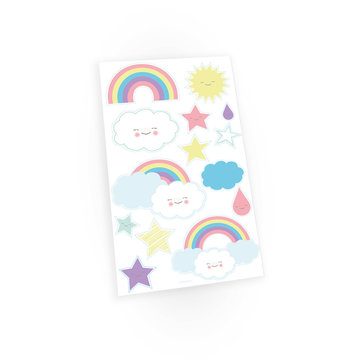 Amscan Rainbow & Cloud Plaktattoeages -14 stuks - Regenboog en Wolk Tattoos