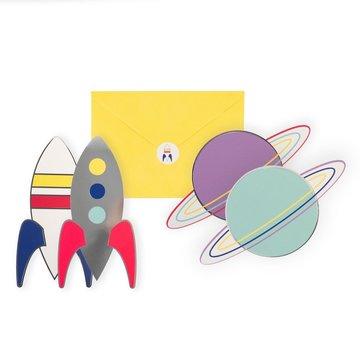My Little Day Cosmic Uitnodigingen - 8 stuks - Voor een space feestje